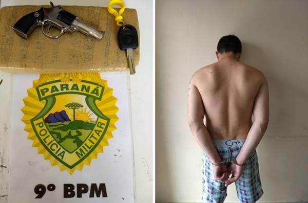 Trabalho integrado entre Polícias Militar e Civil de Guaratuba prende foragido drogas e simulacro de arma de fogo