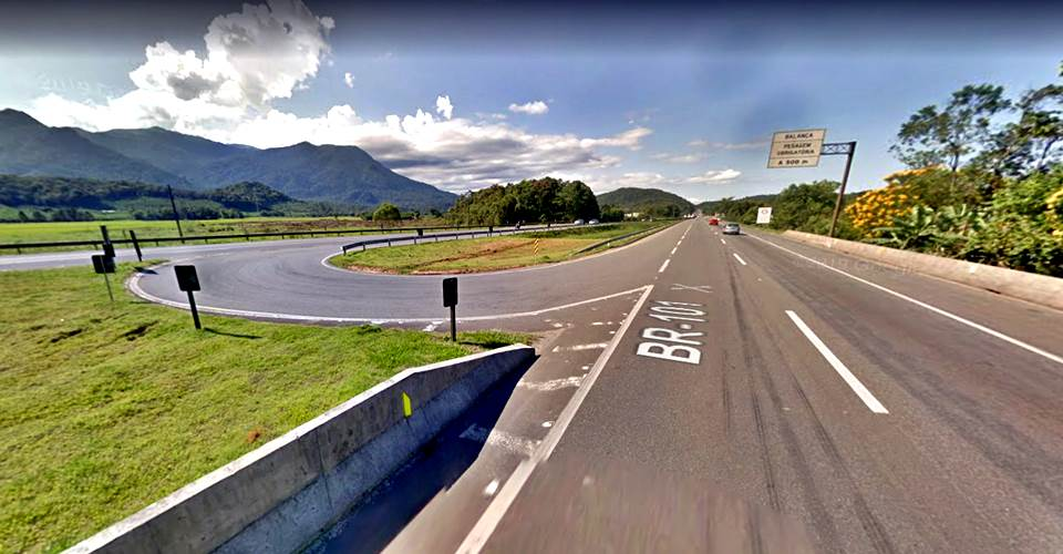 Arteris Litoral Sul anuncia o fechamento do retorno da pista sul para norte no Km 14,8 da BR-101, em Garuva