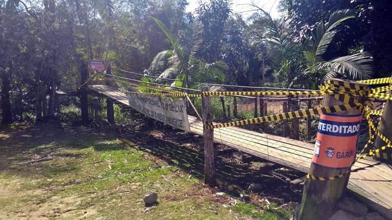 Ponte Pênsil é interditada na comunidade Monte Crista